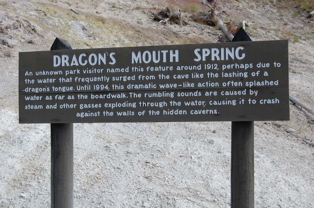 Information about Dragon's Mouth Spring in Yellowstone National Park