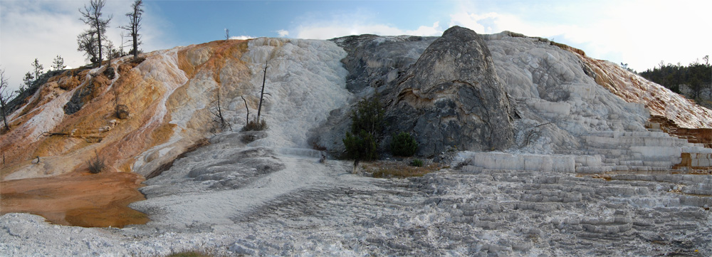 Panoramic view of Cleopatra terrace and the Mammoth Hot Springs travertine terraces