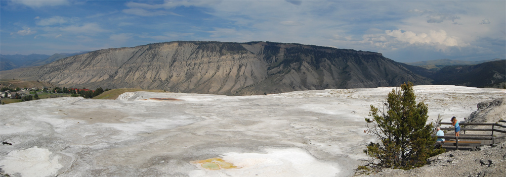 Spectacular view from the overlook at the Main terrace at the Mammoth Hot Springs terraces